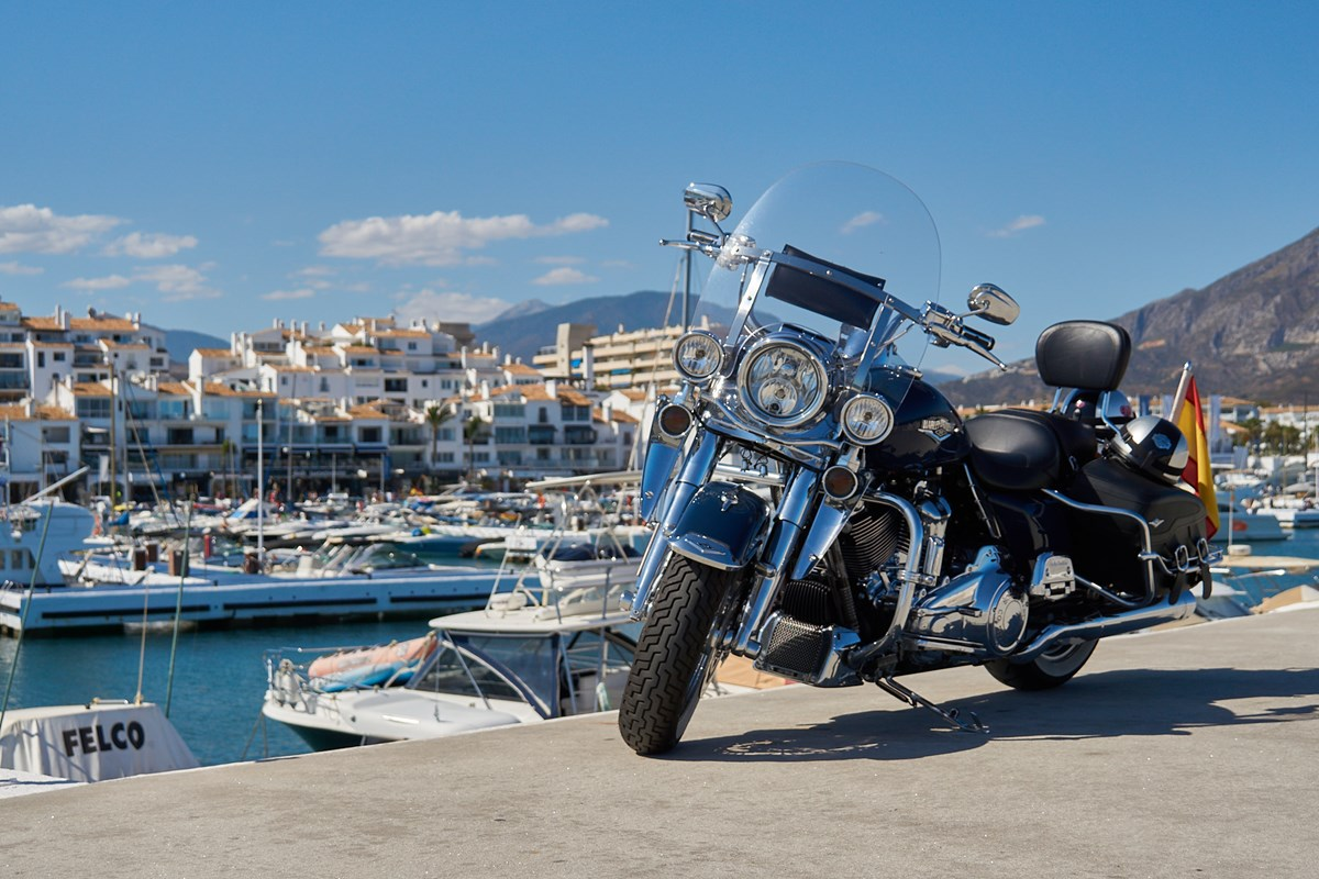 Harley Davidson On The Sea Wall Of Puerto Banus